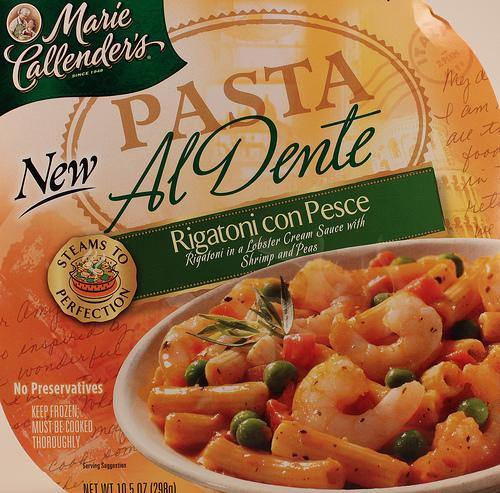Marie Callender's Rigatoni con Pesce Pasta Al Dente - Ad